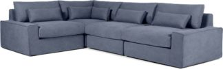An Image of Trent Loose Cover Corner Sofa, Washed Blue Cotton