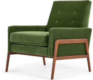 An Image of Cecil Accent Armchair, Cotton Velvet Grass
