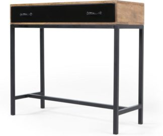 An Image of Lomond Console Table, Mango Wood and Black