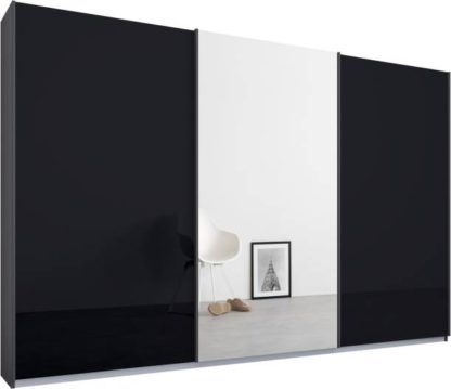 An Image of Malix 3 door 270cm Sliding Wardrobe, Graphite Grey frame,Basalt Grey Glass & Mirror doors , Classic Interior