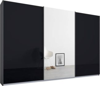 An Image of Malix 3 door 270cm Sliding Wardrobe, Graphite Grey frame,Basalt Grey Glass & Mirror doors, Standard Interior