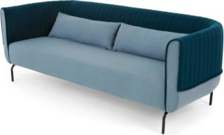 An Image of Bienno 3 seater sofa, Pigeon Blue and Petrol Teal