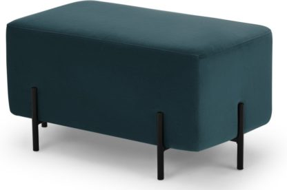 An Image of Eda Rectangle Footstool, Steel Blue with Black metal legs