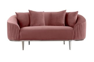 An Image of Ella Two Seat Sofa - Blush Pink - Polished chrome base