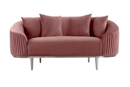 An Image of Ella Two Seat Sofa - Blush Pink - Polished chrome base