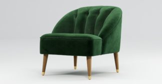 An Image of Custom MADE Margot Armchair, Forrest Green Velvet, Light Wood Brass Leg