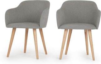 An Image of Set of 2 Stig Low Back Dining Chairs, Manhattan Grey and Oak