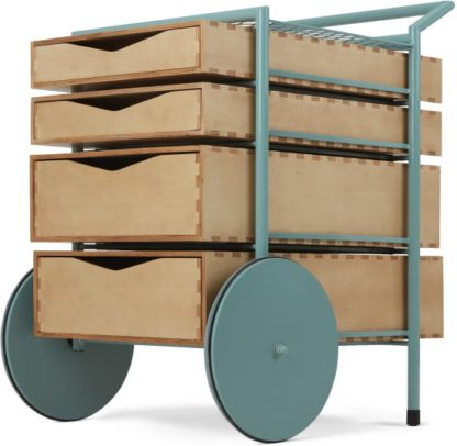 An Image of Swappi Drinks Trolley, Mint Green and Ash