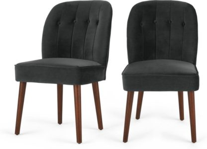 An Image of Set of 2 Margot Dining Chairs, Midnight Grey Velvet