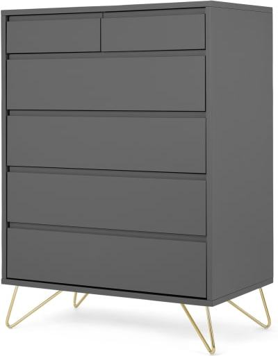 An Image of Elona Tall Multi Chest of Drawers, Charcoal & Brass Legs