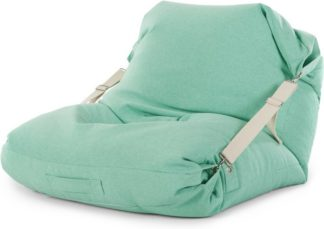 An Image of Tuck Bean Bag Floor Chair, Mint with Contrast Cream Strap
