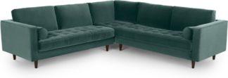 An Image of Scott Corner Sofa, Petrol Cotton Velvet