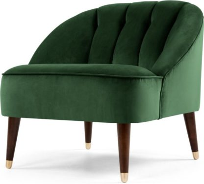 An Image of Margot Accent Armchair, Forest Green Velvet