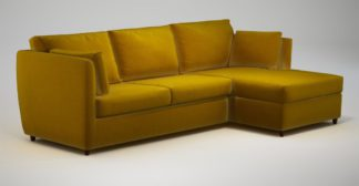An Image of Custom MADE Milner Right Hand Facing Corner Storage Sofa Bed with Foam Mattress, Saffron Yellow Velvet