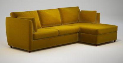 An Image of Custom MADE Milner Right Hand Facing Corner Storage Sofa Bed with Foam Mattress, Saffron Yellow Velvet