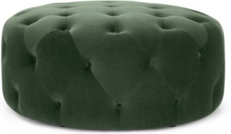 An Image of Hampton Large Round Pouffe, Elm Green Velvet