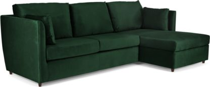 An Image of Milner Right Hand Facing Corner Storage Sofa Bed with Foam Mattress, Bottle Green Velvet