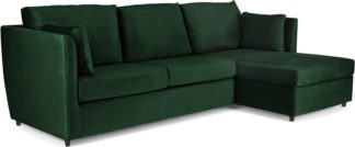 An Image of Milner Right Hand Facing Corner Storage Sofa Bed with Memory Foam Mattress, Bottle Green Velvet