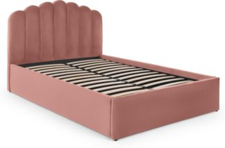 An Image of Delia Double Bed with Ottoman Storage, Blush Pink