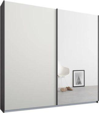 An Image of Malix 2 door 181cm Sliding Wardrobe, Graphite Grey frame,Matt White & Mirror doors , Classic Interior
