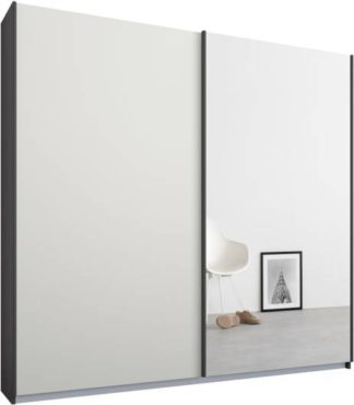 An Image of Malix 2 door 181cm Sliding Wardrobe, Graphite Grey frame,Matt White & Mirror doors, Standard Interior