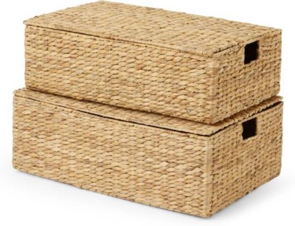 An Image of Dae Set of 2 Underbed Water Hyacinth Storage Trunks, Multi