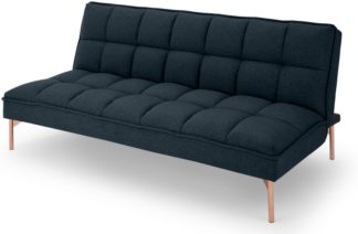 An Image of Hallie Click Clack Sofa Bed, Aegean Blue with Copper Legs