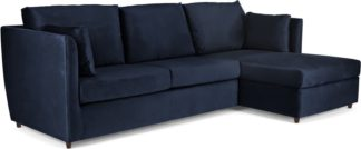 An Image of Milner Right Hand Facing Corner Storage Sofa Bed with Memory Foam Mattress, Regal Blue Velvet