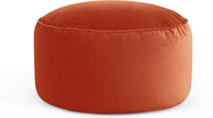 An Image of Lux Velvet floor cushion, Flame Orange Velvet