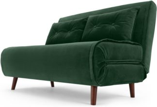 An Image of Haru Small Sofa bed, Pine Green Velvet
