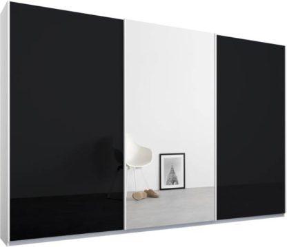 An Image of Malix 3 door 270cm Sliding Wardrobe, White frame,Basalt Grey Glass & Mirror doors , Premium Interior
