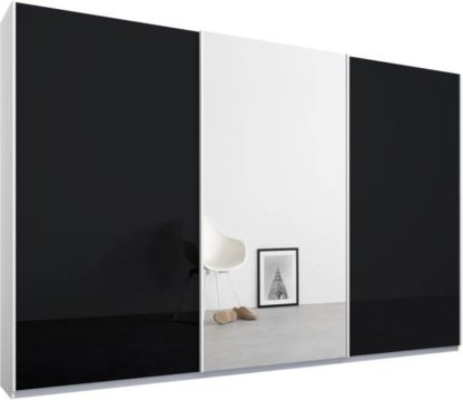 An Image of Malix 3 door 270cm Sliding Wardrobe, White frame,Basalt Grey Glass & Mirror doors, Standard Interior