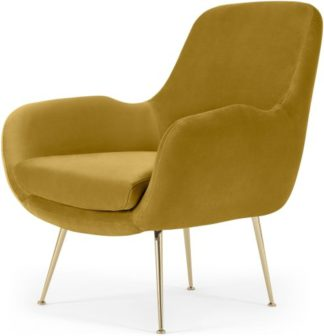 An Image of Moby Accent Armchair, Vintage Gold Velvet with Brass Leg