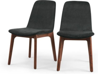 An Image of Set of 2 Vine Dining Chairs, Midnight Grey Velvet