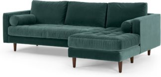 An Image of Scott 4 Seater Right Hand Facing Chaise End Corner Sofa, Petrol Cotton Velvet