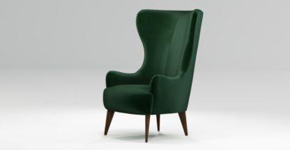 An Image of Custom MADE Bodil Accent Chair, Bottle Green Velvet with Dark Wood Leg