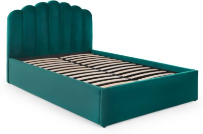 An Image of Delia Double Bed with Ottoman Storage, Seafoam Blue Velvet