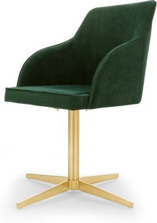 An Image of Keira Office Chair, Pine Green Velvet and Brass