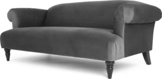 An Image of Claudia 3 Seater Sofa, Pewter Grey Velvet