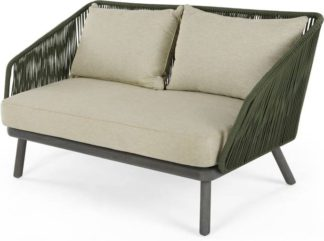 An Image of Alif Garden 2 Seater Sofa, Green and Grey Eucalyptus