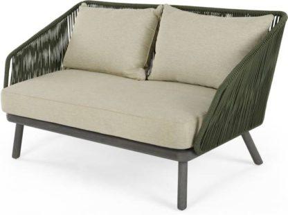 An Image of Alif Garden 2 Seater Sofa, Green and Grey Eucalyptus