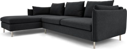 An Image of Vento 3 Seater Left Hand Facing Chaise End Corner Sofa, Sterling Grey