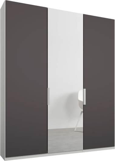 An Image of Caren 3 door 150cm Hinged Wardrobe, White Frame, Matt Graphite Grey & Mirror Doors, Classic Interior
