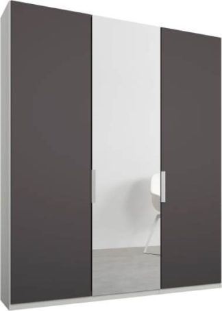 An Image of Caren 3 door 150cm Hinged Wardrobe, White Frame, Matt Graphite Grey & Mirror Doors, Premium Interior
