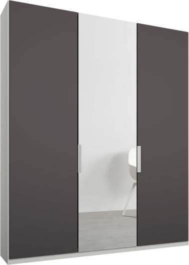 An Image of Caren 3 door 150cm Hinged Wardrobe, White Frame, Matt Graphite Grey & Mirror Doors, Standard Interior