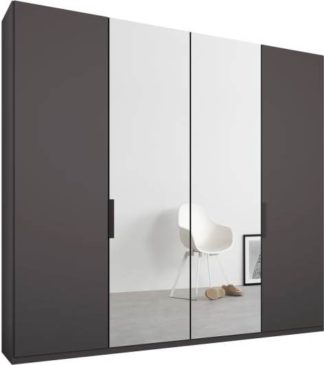 An Image of Caren 4 door 200cm Hinged Wardrobe, Graphite Grey Frame, Matt Graphite Grey & Mirror Doors, Standard Interior