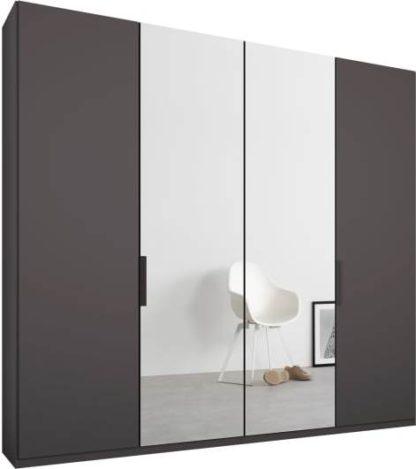 An Image of Caren 4 door 200cm Hinged Wardrobe, Graphite Grey Frame, Matt Graphite Grey & Mirror Doors, Standard Interior