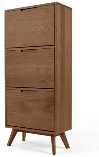 An Image of Jenson Shoe Storage Cabinet, Dark Stain Oak