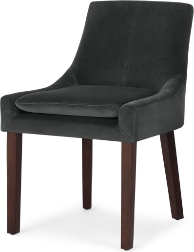 An Image of Percy Scoop Back Chair, Midnight Grey Velvet and Dark Wood