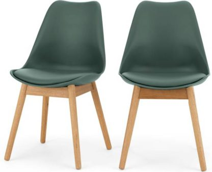 An Image of Set of 2 Thelma Dining Chairs, Oak and Green